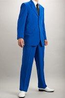 カラースーツ シングル 3つボタン ブルー 2タックパンツ モデル
