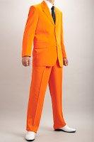 カラースーツ シングル 3つボタン オレンジ 2タックパンツ モデルの画像