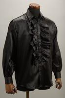 サテンフリルシャツブラック