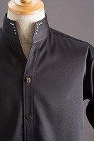 スタンドカラーシャツ オープンタイプスワロフスキー ブラック
