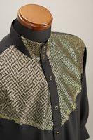 ラメ 3ボタン スタンドカラーシャツ ゴールド・ブラック