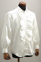 サテンフリルシャツ ホワイト