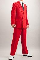 カラースーツ ダブル レッド 2タックパンツモデル
