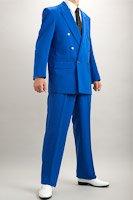 カラースーツ ダブル ブルー 2タックパンツモデル