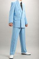 カラースーツ ダブル ライトブルー 2タックパンツモデル