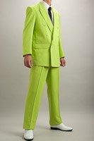 カラースーツ ダブル ライトグリーン 2タックパンツモデル