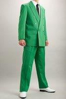 カラースーツ ダブル グリーン 2タックパンツモデル