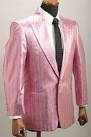 メタリックストライプジャケット シングル1ボタン ピンク