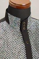スパンコール 3ボタン スタンドカラーシャツ シルバー