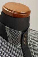 ラメ 3ボタン スタンドカラーシャツ シルバー・ブラック