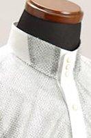ラメ 3ボタン スタンドカラーシャツ シルバー・ホワイト