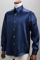サテンシャツネイビーブルー #35
