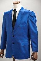 カラージャケット シングル2つボタン 【サテンジャケット】 ブルー
