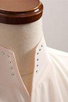スタンドカラーシャツ オープンタイプスワロフスキー ピンク