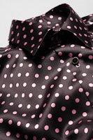 ドット柄サテンレギュラーカラーシャツ ブラック・ピンク #4589