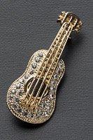 アコースティックギター ブローチ ラインストーン ゴールド #1012の画像
