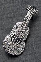 アコースティックギター ブローチ ラインストーン シルバー #1013
