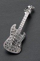 エレキギター ブローチ ラインストーン シルバー #1015の画像