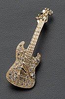 エレキギター ブローチ ラインストーン ゴールド #1014の画像