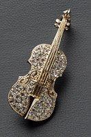 バイオリン ブローチ ラインストーン ゴールド #1018の画像