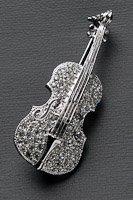 バイオリン ブローチ  ラインストーン シルバー #1019