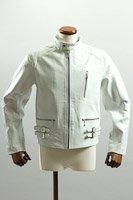 UKシングルライダースジャケット ホワイト カウレザー