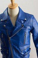 UKダブルライダースジャケット ブルー