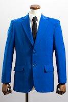 シングル 2つボタンジャケット サイドベンツ ブルー
