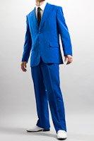 シングル 2つボタンスーツ サイドベンツ ブルー