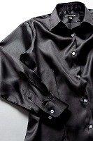 サテンシャツ レディースモデル ブラック #01