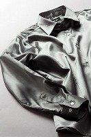 サテンシャツ レディースモデル グレー #04