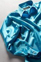 レディース サテンシャツ マリンブルー #17
