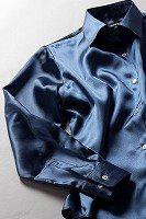 レディース サテンシャツ インディゴブルー #19