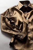 サテンシャツ レディースモデル ブラウン #32