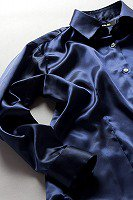 レディース サテンシャツ ネイビーブルー #35