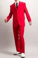カラースーツ シングル 3つボタン レッド ノータックパンツモデル