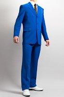 カラースーツ シングル 3つボタン ブルー ノータックパンツモデル