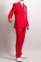 赤いスーツ シングル2つボタン