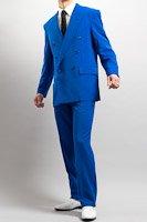 カラースーツ ダブル ブルー ノータックパンツモデル