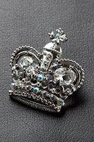 王冠  ブローチ ラインストーン シルバー #1024の画像