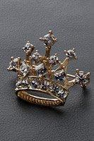 王冠  ブローチ ラインストーン ゴールド #1026