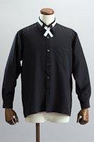 クロスタイ付 レギュラーカラーシャツ #10251  ブラック