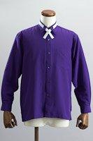 クロスタイ付 レギュラーカラーシャツ #10251 パープル