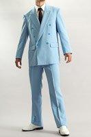 カラースーツ ダブル ライトブルー ノータックパンツモデル