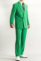 カラースーツ ダブル グリーン ノータックパンツモデル