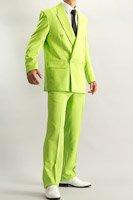カラースーツ ダブル ライトグリーン ノータックパンツモデル