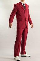 カラースーツ シングル 3つボタン ワインレッド ノータックパンツ モデルの画像