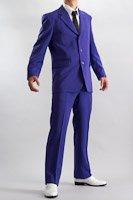 カラースーツ シングル 3つボタン パープル ノータックパンツ モデル