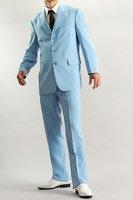 カラースーツ シングル 3つボタン ライトブルー ノータックパンツ モデル