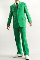 カラースーツ シングル 3つボタン グリーン ノータックパンツ モデル